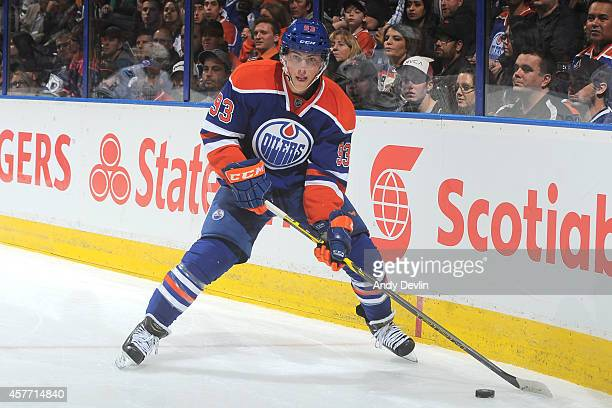 Ryan NugentHopkins of the Edmonton Oilers skates on the ice in a game against the Vancouver Canucks on October 17 2014 at Rexall Place in Edmonton...