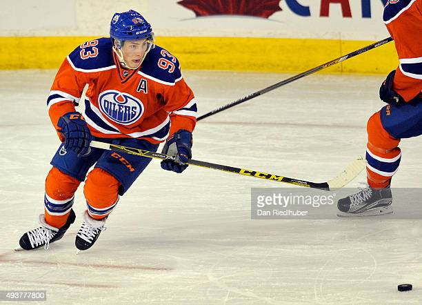 Ryan NugentHopkins of the Edmonton Oilers skates up ice against the St Louis Blues at Rexall Place on October 15 2015 in Edmonton Alberta Canada