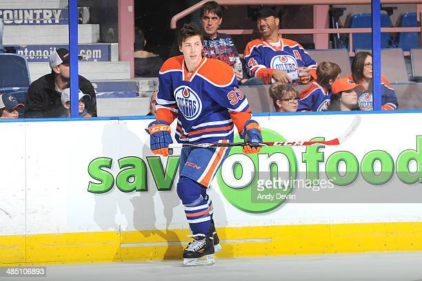 Ryan NugentHopkins of the Edmonton Oilers warms up prior to the game against the Colorado Avalanche on April 8 2014 at Rexall Place in Edmonton...