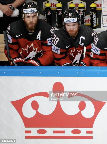 Ryan O Reilly and Claude Giroux of Canada react during the 2017 IIHF Ice Hockey World Championship game between Canada and Finland at AccorHotels...