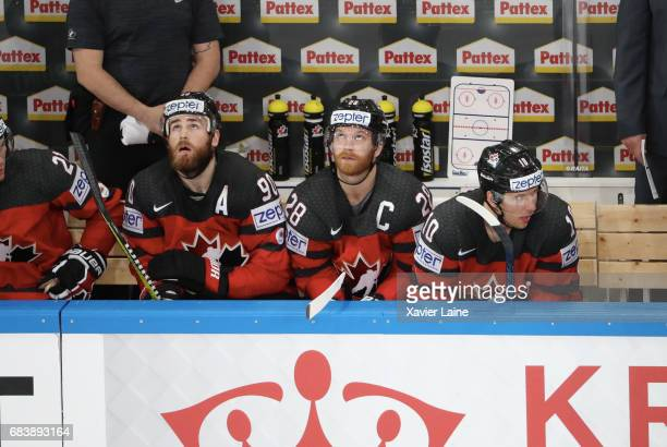 Ryan O Reilly Claude Giroux and Brayden Schenn of Canada react during the 2017 IIHF Ice Hockey World Championship game between Canada and Finland at...
