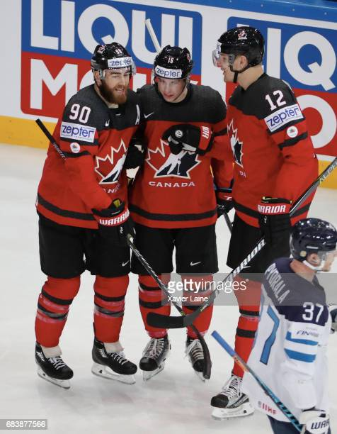 Ryan O Reilly Mitch Marner and Colton Parayko of Canada celebrate a goal during the 2017 IIHF Ice Hockey World Championship game between Canada and...