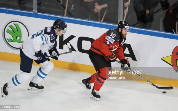 Ryan O Reilly of Canada in action with Joonas Kemppainen of Finland during the 2017 IIHF Ice Hockey World Championship game between Canada and...