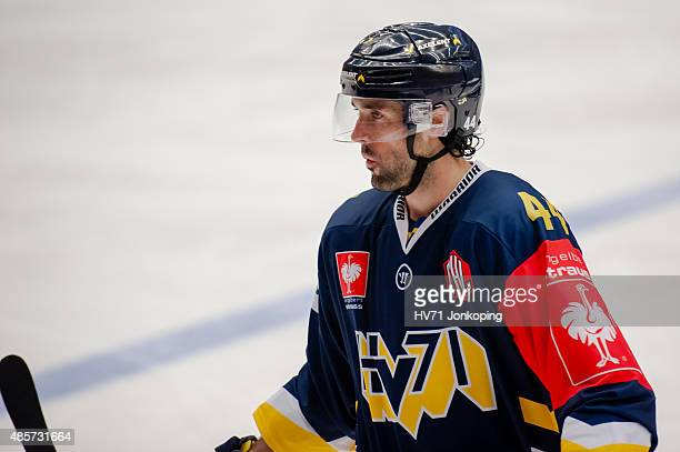 Ryan O´Byrne of HV71 in action during the Champions Hockey League group stage game between HV71 Jonkoping and SonderjyskE Vojens on August 29 2015 in...