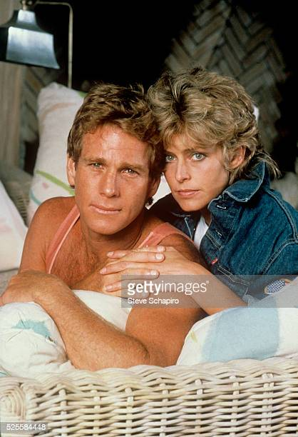 Ryan O'Neal and Farrah Fawcett photographed at her Beverly Hills home