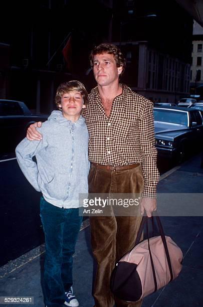 Ryan O'Neal with his son Griffin O'Neal circa 1970 New York