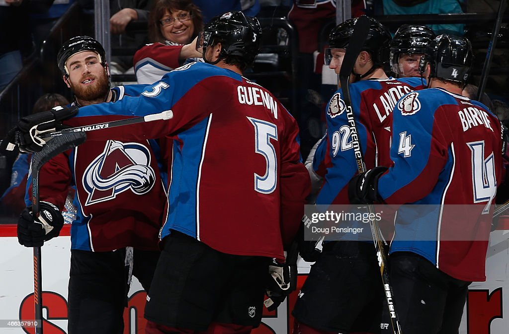 <a gi-track='captionPersonalityLinkClicked' href=/galleries/search?phrase=Ryan+O%27Reilly&family=editorial&specificpeople=4754037 ng-click='$event.stopPropagation()'>Ryan O'Reilly</a> (L) #90 of the Colorado Avalanche celebrates his goal against the Calgary Flames with teammates <a gi-track='captionPersonalityLinkClicked' href=/galleries/search?phrase=Nate+Guenin&family=editorial&specificpeople=3948510 ng-click='$event.stopPropagation()'>Nate Guenin</a> #5, <a gi-track='captionPersonalityLinkClicked' href=/galleries/search?phrase=Gabriel+Landeskog&family=editorial&specificpeople=6590816 ng-click='$event.stopPropagation()'>Gabriel Landeskog</a> #92, <a gi-track='captionPersonalityLinkClicked' href=/galleries/search?phrase=Alex+Tanguay&family=editorial&specificpeople=203231 ng-click='$event.stopPropagation()'>Alex Tanguay</a> #40 and <a gi-track='captionPersonalityLinkClicked' href=/galleries/search?phrase=Tyson+Barrie&family=editorial&specificpeople=4669265 ng-click='$event.stopPropagation()'>Tyson Barrie</a> #4 to take a 2-0 lead in the second period at Pepsi Center on March 14, 2015 in Denver, Colorado.