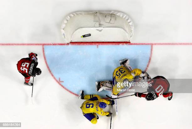 Ryan O'Reilly of Canada scores the equalizing goal over Henrik Lundqvist of Sweden during the 2017 IIHF Ice Hockey World Championship Gold Medal game...