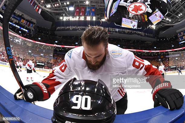 Ryan O'Reilly of Team Canada stretches prior to the game against Team USA during the World Cup of Hockey 2016 at Air Canada Centre on September 20...