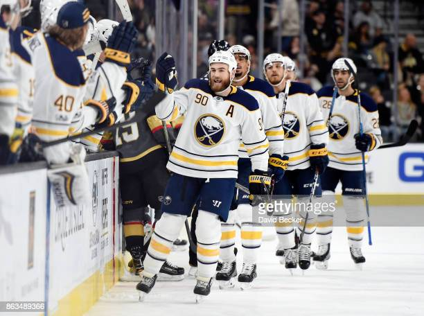 Ryan O'Reilly of the Buffalo Sabres celebrates his first period goal against the Vegas Golden Knights at TMobile Arena on October 17 2017 in Las...