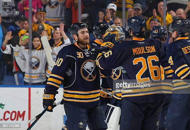 Ryan O'Reilly of the Buffalo Sabres celebrates his game winning overtime goal against the Los Angeles Kings during an NHL game on December 12 2015 at...