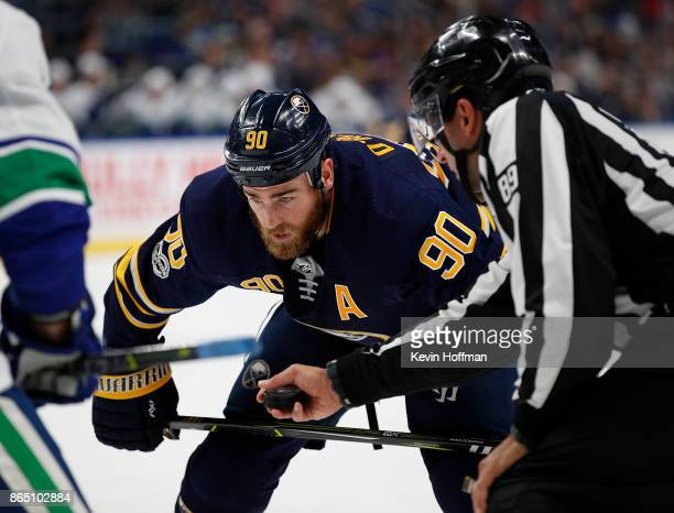 Ryan O'Reilly of the Buffalo Sabres during the game against the Vancouver Canucks at the KeyBank Center on October 20 2017 in Buffalo New York