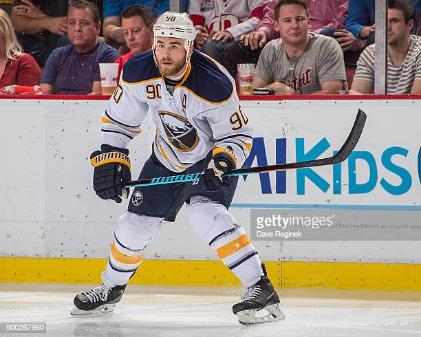 Ryan O'Reilly of the Buffalo Sabres follows the play during an NHL game against the Detroit Red Wings at Joe Louis Arena on December 1 2015 in...