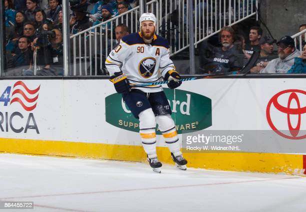 Ryan O'Reilly of the Buffalo Sabres looks during a NHL game against the San Jose Sharks at SAP Center on October 12 2017 in San Jose California
