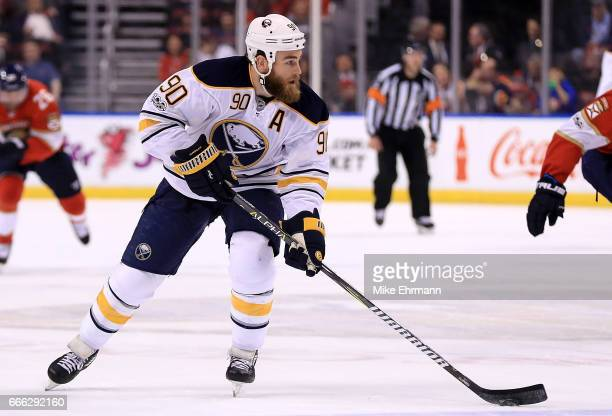 Ryan O'Reilly of the Buffalo Sabres looks to pass during a game against the Florida Panthers at BBT Center on April 8 2017 in Sunrise Florida