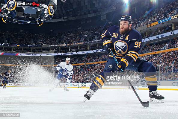 Ryan O'Reilly of the Buffalo Sabres makes a quick stop against the Toronto Maple Leafs during an NHL game at the KeyBank Center on November 3 2016 in...