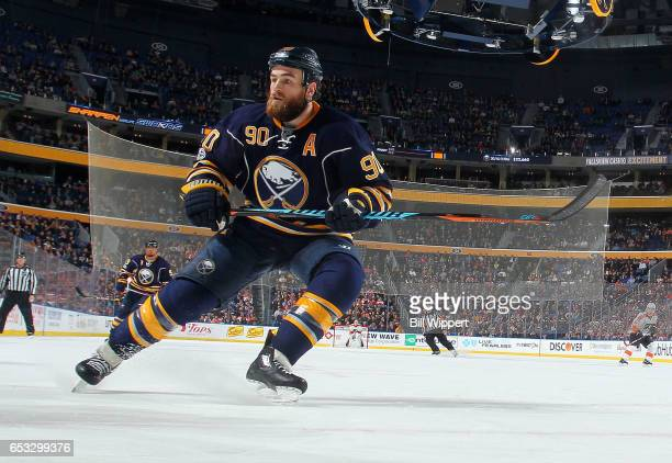 Ryan O'Reilly of the Buffalo Sabres of the Buffalo Sabres skates during an NHL game against the Philadelphia Flyers at the KeyBank Center on March 7...