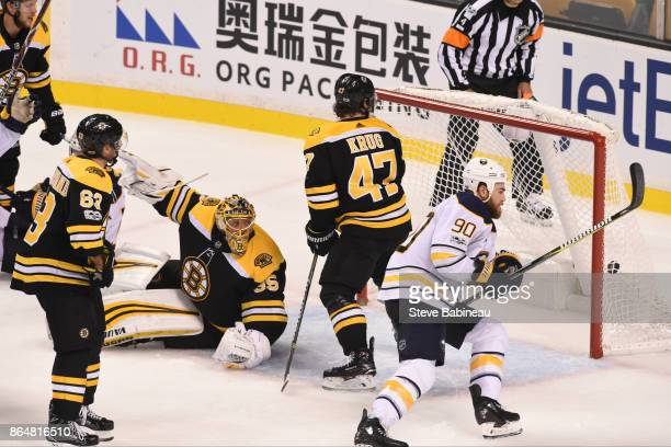 Ryan O'Reilly of the Buffalo Sabres scores in overtime against the Boston Bruins at the TD Garden on October 21 2017 in Boston Massachusetts
