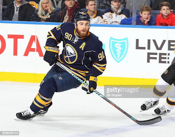 Ryan O'Reilly of the Buffalo Sabres skates against the Boston Bruins during an NHL game at the KeyBank Center on December 3 2016 in Buffalo New York