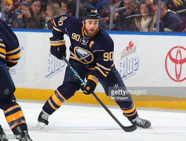 Ryan O'Reilly of the Buffalo Sabres skates against the Colorado Avalanche during an NHL game on February 14 2016 at the First Niagara Center in...