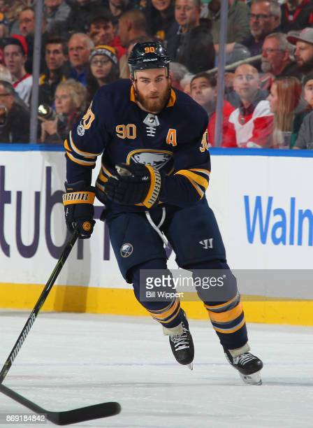 Ryan O'Reilly of the Buffalo Sabres skates against the Detroit Red Wings during an NHL game on October 24 2017 at KeyBank Center in Buffalo New York