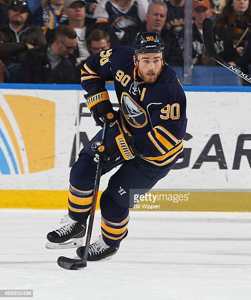 Ryan O'Reilly of the Buffalo Sabres skates against the Nashville Predators during an NHL game on November 25 2015 at the First Niagara Center in...