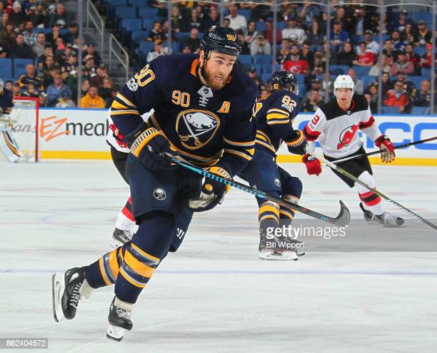 Ryan O'Reilly of the Buffalo Sabres skates against the New Jersey Devils during an NHL game on October 9 2017 at KeyBank Center in Buffalo New York