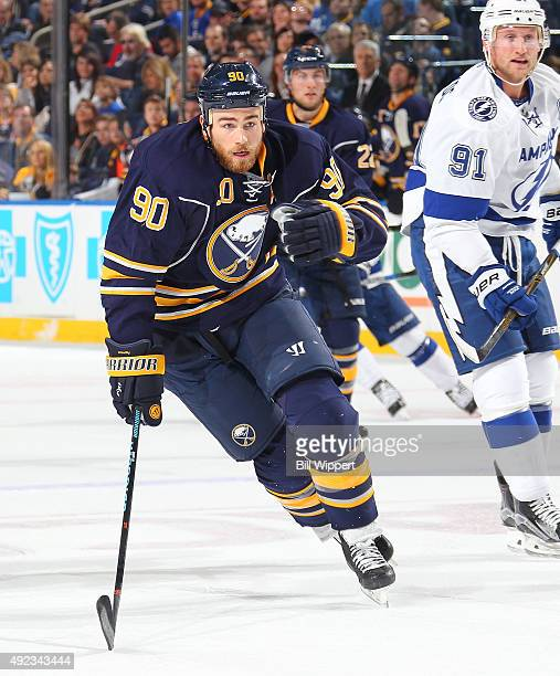Ryan O'Reilly of the Buffalo Sabres skates against the Tampa Bay Lightning on October 10 2015 at the First Niagara Center in Buffalo New York