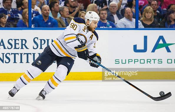 Ryan O'Reilly of the Buffalo Sabres skates against the Tampa Bay Lightning during the second period at the Amalie Arena on October 17 2015 in Tampa...