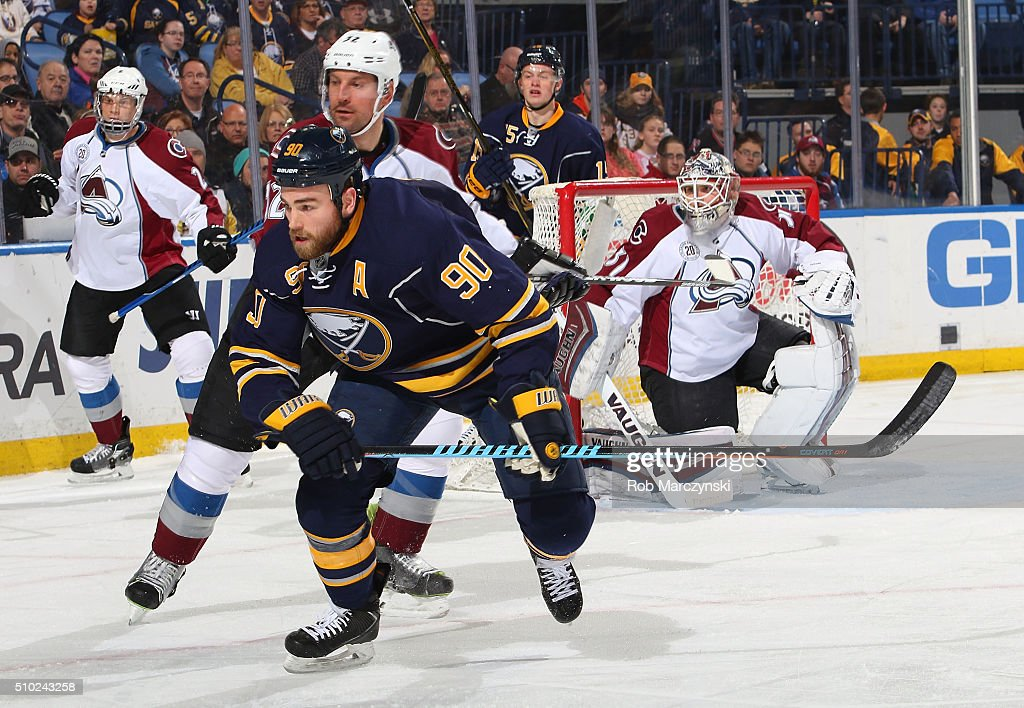<a gi-track='captionPersonalityLinkClicked' href=/galleries/search?phrase=Ryan+O%27Reilly&family=editorial&specificpeople=4754037 ng-click='$event.stopPropagation()'>Ryan O'Reilly</a> #90 of the Buffalo Sabres skates away from <a gi-track='captionPersonalityLinkClicked' href=/galleries/search?phrase=Francois+Beauchemin&family=editorial&specificpeople=604125 ng-click='$event.stopPropagation()'>Francois Beauchemin</a> #32 of the Colorado Avalanche during an NHL game on February 14, 2016 at the First Niagara Center in Buffalo, New York.