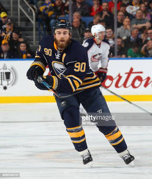 Ryan O'Reilly of the Buffalo Sabres skates during an NHL game against the Columbus Blue Jackets at the KeyBank Center on March 11 2017 in Buffalo New...