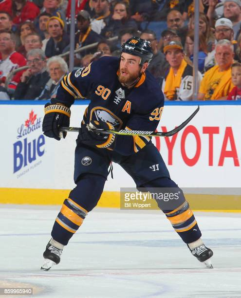 Ryan O'Reilly of the Buffalo Sabres skates during an NHL game against the Montreal Canadiens on October 5 2017 at KeyBank Center in Buffalo New York