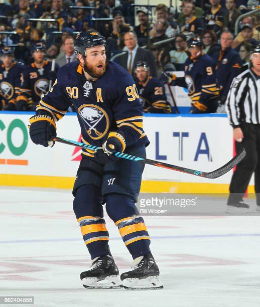 Ryan O'Reilly of the Buffalo Sabres skates during an NHL game against the New Jersey Devils on October 9 2017 at KeyBank Center in Buffalo New York