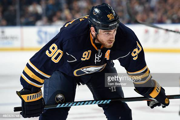 Ryan O'Reilly of the Buffalo Sabres skates up to the faceoff circle during the game against the Ottawa Senators at the First Niagara Center on...