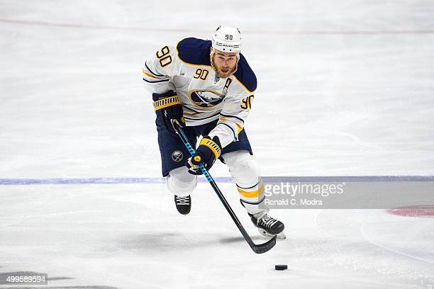 Ryan O'Reilly of the Buffalo Sabres skates with the puck during a NHL game against the Nashville Predators at Bridgestone Arena on November 28 2015...
