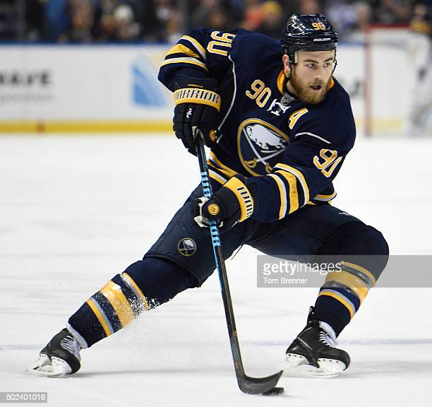 Ryan O'Reilly of the Buffalo Sabres skates with the puck during the game against the Chicago Blackhawks at the First Niagara Center on December 19...