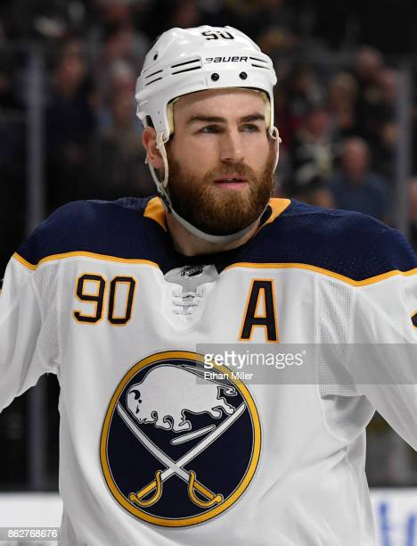 Ryan O'Reilly of the Buffalo Sabres waits for a faceoff in the second period of a game against the Vegas Golden Knights at TMobile Arena on October...