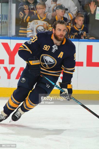 Ryan O'Reilly of the Buffalo Sabres warms up before an NHL game against the New Jersey Devils on October 9 2017 at KeyBank Center in Buffalo New York