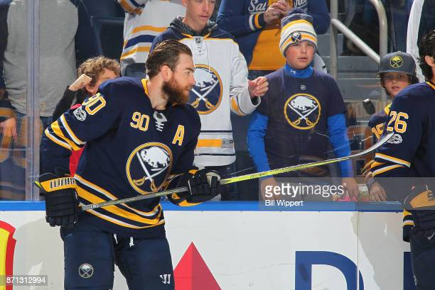Ryan O'Reilly of the Buffalo Sabres warms up before playing against the San Jose Sharks in an NHL game on October 28 2017 at KeyBank Center in...