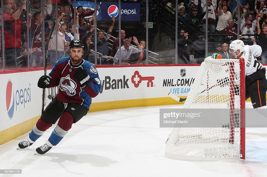 <a gi-track='captionPersonalityLinkClicked' href=/galleries/search?phrase=Ryan+O%27Reilly&family=editorial&specificpeople=4754037 ng-click='$event.stopPropagation()'>Ryan O'Reilly</a> #90 of the Colorado Avalanche celebrates after scoring the first goal of the season against the Anaheim Ducks at the Pepsi Center on October 2, 2013 in Denver, Colorado.