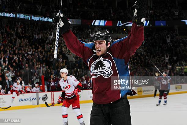 Ryan O'Reilly of the Colorado Avalanche celebrates the game winning goal against the Carolina Hurricanes at the Pepsi Center on February 10 2012 in...