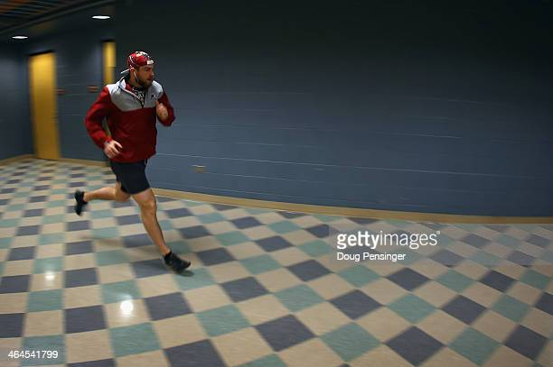 Ryan O'Reilly of the Colorado Avalanche runs in the arena as he warms up prior to facing the Toronto Maple Leafs at Pepsi Center on January 21 2014...