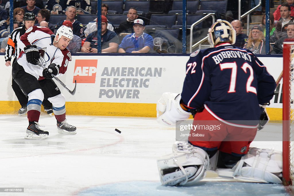 Ryan O'Reilly #90 of the Colorado Avalanche shoots on goaltender Sergei Bobrovsky #72 of the Columbus Blue Jackets during the second period on April 1, 2014 at Nationwide Arena in Columbus, Ohio.