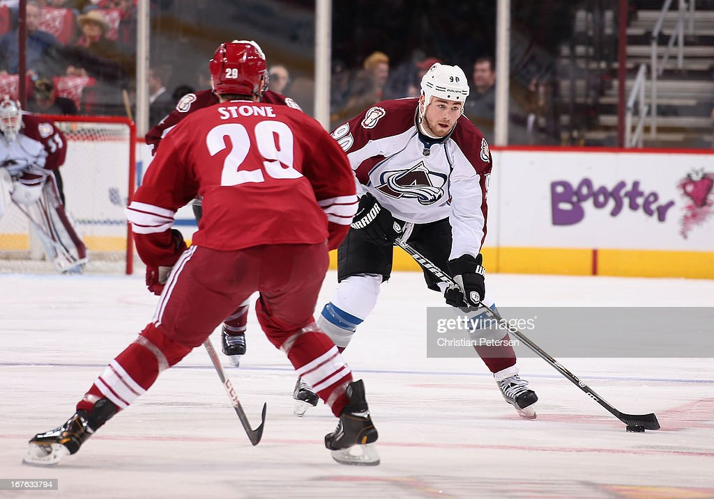 <a gi-track='captionPersonalityLinkClicked' href=/galleries/search?phrase=Ryan+O%27Reilly&family=editorial&specificpeople=4754037 ng-click='$event.stopPropagation()'>Ryan O'Reilly</a> #90 of the Colorado Avalanche skates with the puck against Michael Stone #29 of the Phoenix Coyotes during the first period of the NHL game at Jobing.com Arena on April 26, 2013 in Glendale, Arizona. The Avalanche defeated the Coyotes 5-4 in an overtime shoot-out.