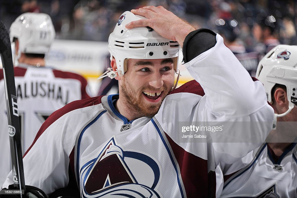 Ryan O'Reilly #90 of the Colorado Avalanche warms up before a game against the Columbus Blue Jackets on March 3, 2013 at Nationwide Arena in Columbus, Ohio. O'Reilly is playing in his first game this season with the Avalanche after signing his new contract.