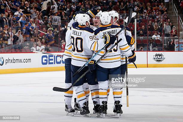 Ryan O'Reilly Rasmus Ristolainen Sam Reinhart and Jack Eichel of the Buffalo Sabres celebrate after Eichel scored a second period power play goal...