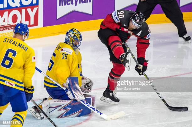 Ryan OReilly tries to score against Goalie Henrik Lundqvist during the Ice Hockey World Championship Gold medal game between Canada and Sweden at...
