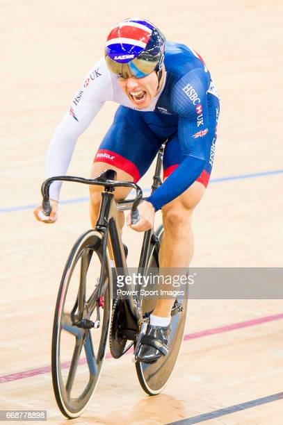 Ryan Owens of Great Britain and Harrie Lavreysen of the Netherlands competes in the Men's Sprint Semifinals 1st Race during 2017 UCI World Cycling on...