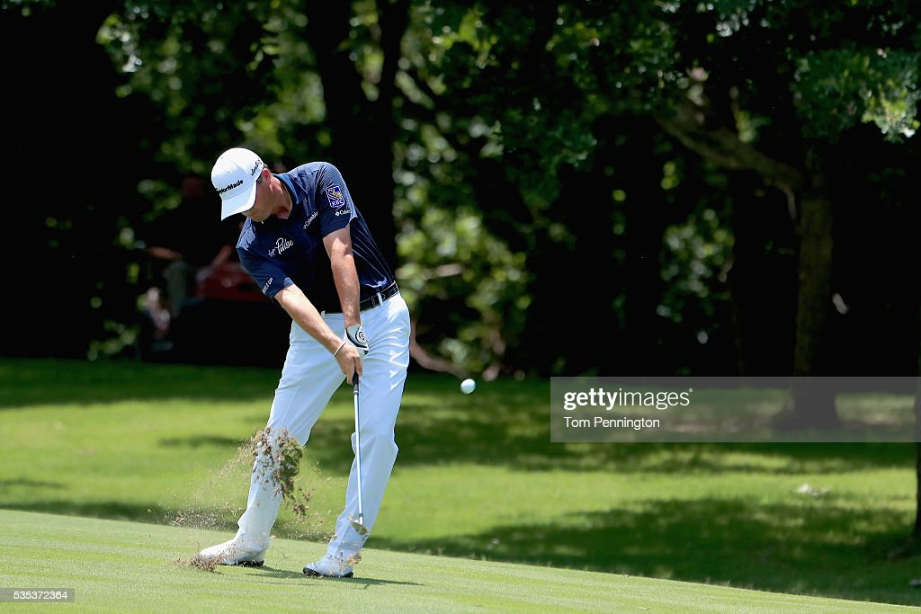 <a gi-track='captionPersonalityLinkClicked' href=/galleries/search?phrase=Ryan+Palmer&family=editorial&specificpeople=240538 ng-click='$event.stopPropagation()'>Ryan Palmer</a> hits a shot on the seventh hole during the Final Round of the DEAN & DELUCA Invitational at Colonial Country Club on May 29, 2016 in Fort Worth, Texas.