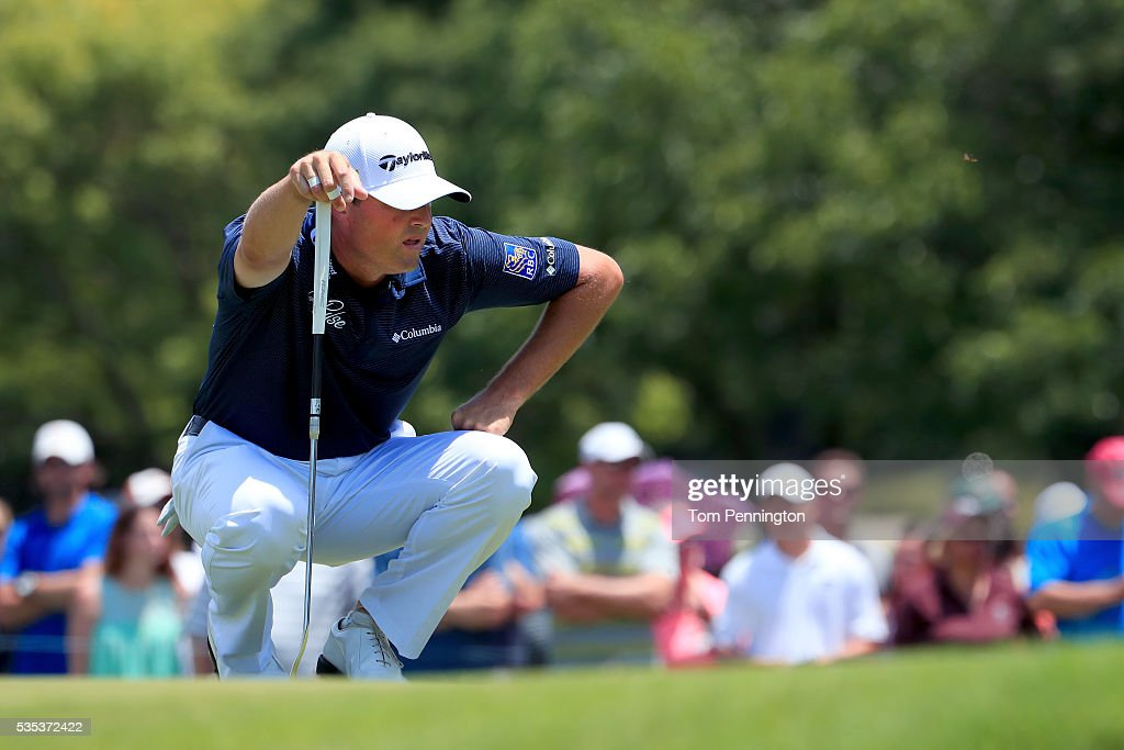 <a gi-track='captionPersonalityLinkClicked' href=/galleries/search?phrase=Ryan+Palmer&family=editorial&specificpeople=240538 ng-click='$event.stopPropagation()'>Ryan Palmer</a> lines up a putt on the sixth green during the Final Round of the DEAN & DELUCA Invitational at Colonial Country Club on May 29, 2016 in Fort Worth, Texas.